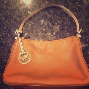 Michael Kors brown bag with cream strap
